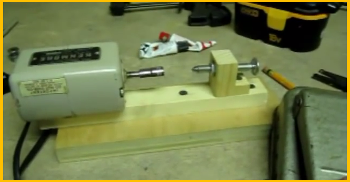 Video Diy Mini Wood Lathe From A Sewing Machine Motor