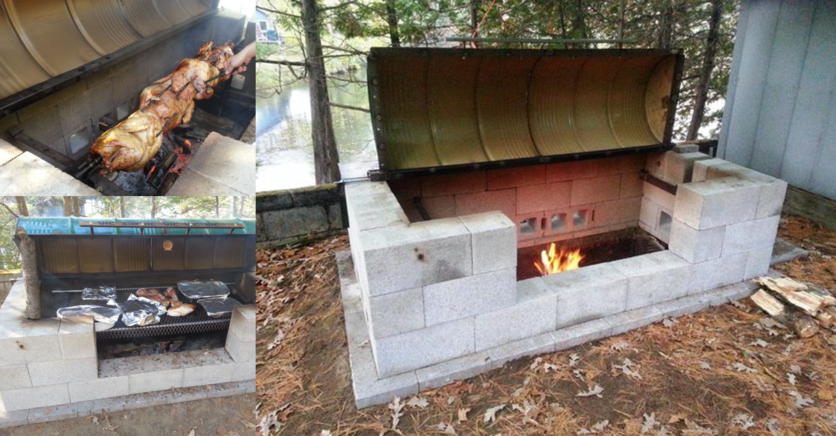 Video Outdoor Diy Rotisserie Bbq Pit It Can Easily Be