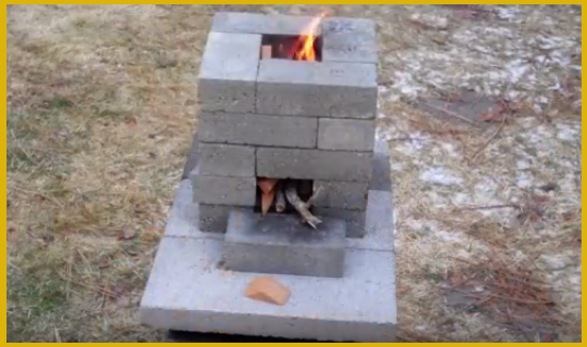 Video building an improved brick rocket stove version for Brick jet stove