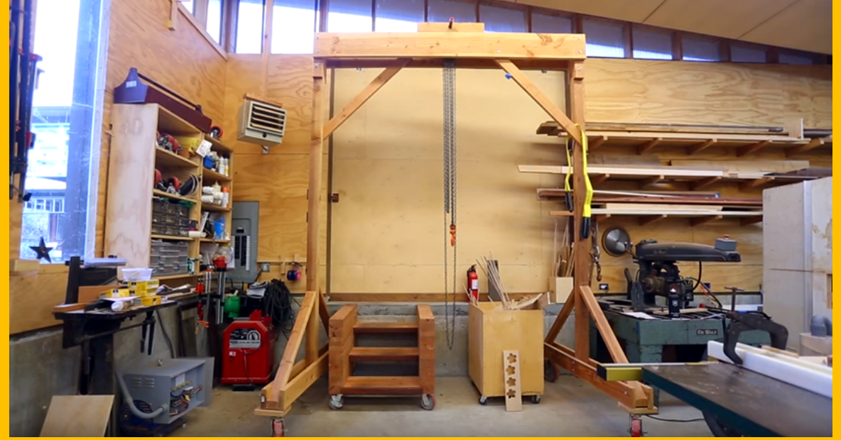 Video build a wooden gantry crane page 2 of 2 for Shop hoist plans