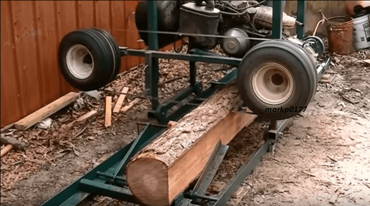 Homemade sawmill from a old golf cart