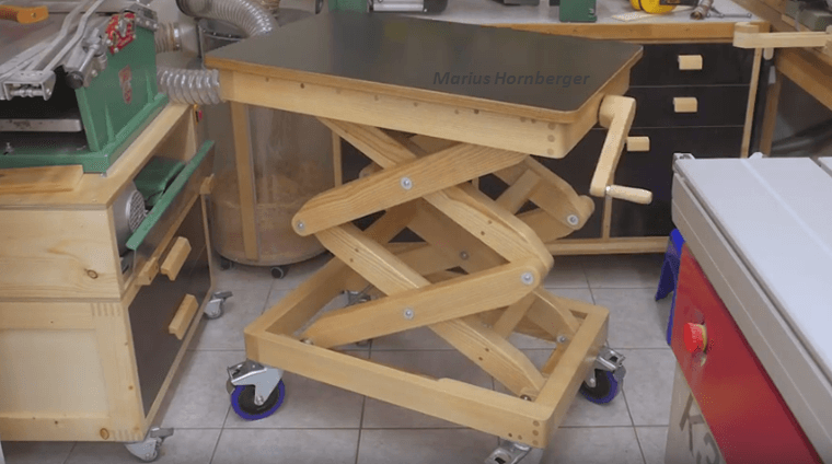 How To Make A Scissor Lift Wooden Table Fast And Easy  - BRILLIANT DIY