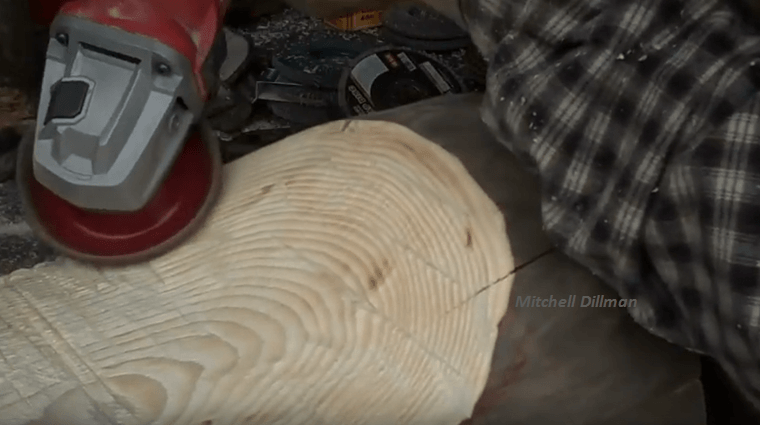 Polish That Newly-sawed Wood Using An Angle Grinder.
